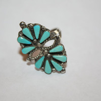 Vintage Sterling Ring Zuni Turquoise Petit Point 1940s Jewelry Pawn Size 8