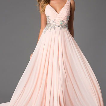 Sleeveless Floor Length V-Neck JVN by Jovani Dress
