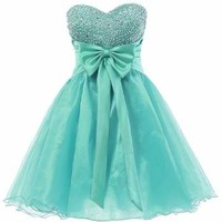 Dresstells Sweetheart Organza Short Prom Cocktail Patry Dress for Girls Sweet 16 Size 8 Black