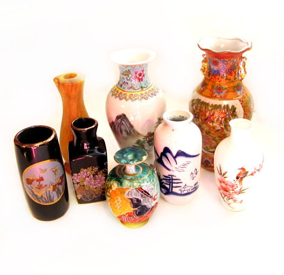 Vintage Vases Lot, Ceramic, Oriental, Porcelain, Wood