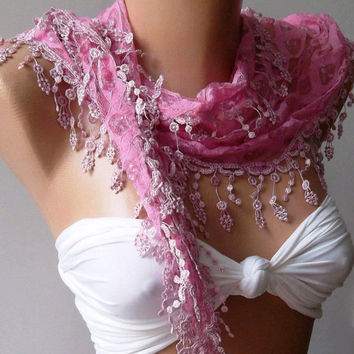 Pink /Elegant  Shawl/Scarf ...With Lacy Edge
