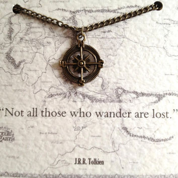 "Tolkien Quote Necklace ""Not all those who wander are lost"" Compass Charm Lord of the Rings"