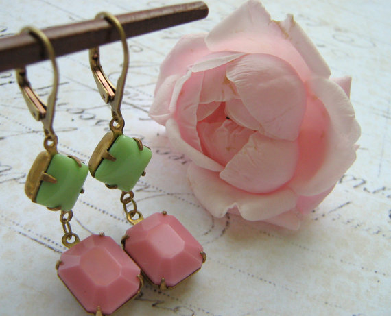 Estate Earrings, Retro Earrings, Mint Pink Rhinestone Earrings, Vintage Glass Earrings, Brass Lever Back Earrings