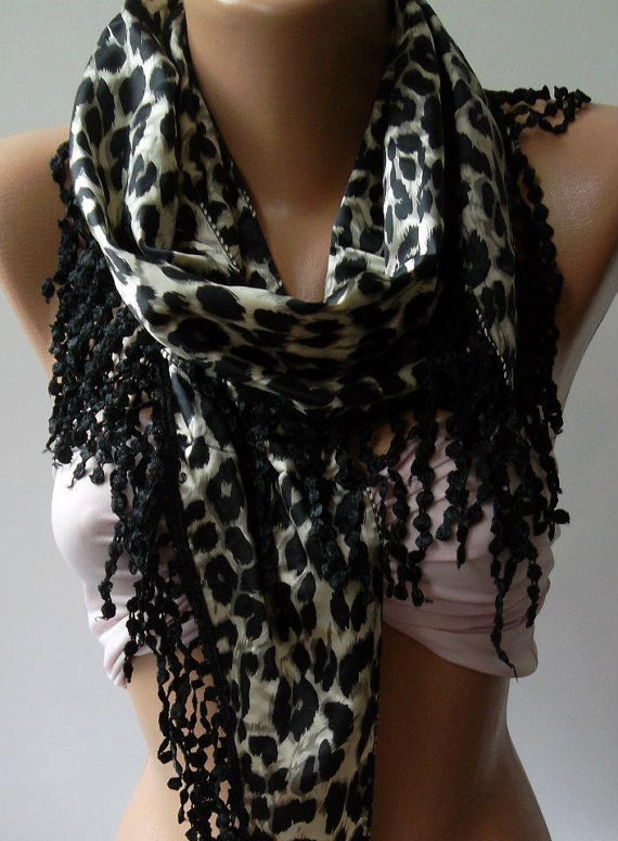 Black / Leopard - Elegant  Shawl / Scarf with Lacy Edge