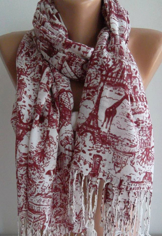 Classy -Red /Shawl / Scarf  / cotton/ Eiffel.
