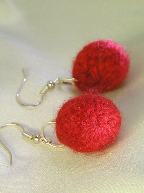 Red Felt Ball Earrings