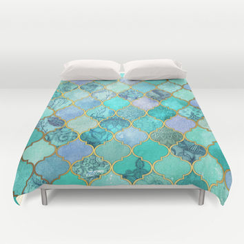 Cool Jade & Icy Mint Decorative Moroccan Tile Pattern Duvet Cover by micklyn