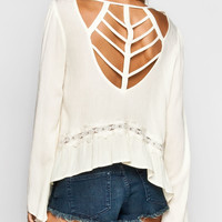 BLU PEPPER Cage Back Womens Crop Top 234452160 | Blouses & Shirts