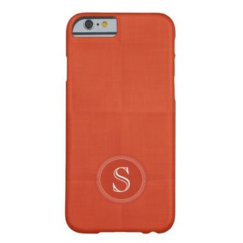 Orange Faux Linen Custom Monogram iPhone 6 Case