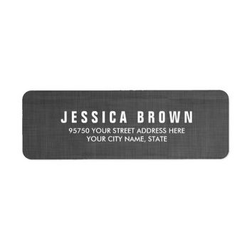 Sleek black Vintage Burlap Texture Address Label