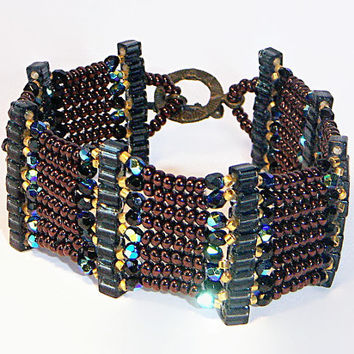 Brown, Black, Gold and Bronze Bead Bracelet Glass Beaded Bracelet