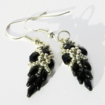 Beadwork black and silver bead earrings