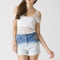 Crochet Cut Off Top - Tops - Retro, Indie and Unique Fashion