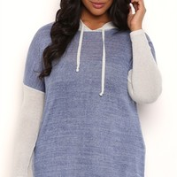 Plus Size Long Sleeve Layered Tunic Hoodie with High Low Hemline