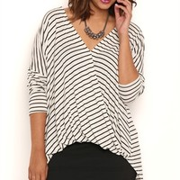 Plus Size Long Sleeve Striped High Low Top with Surplice Front
