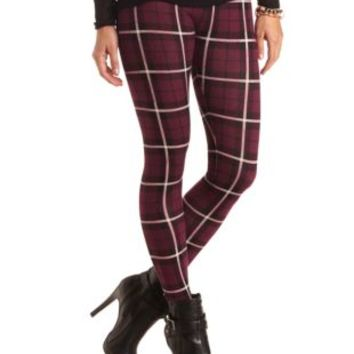 Cotton Plaid Leggings by Charlotte Russe - Wine Combo