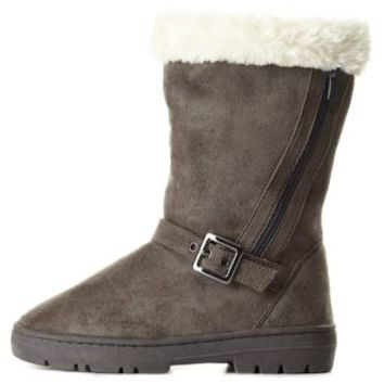 Side-Zipper Mid-Calf Shearling Boots by Charlotte Russe - Gray