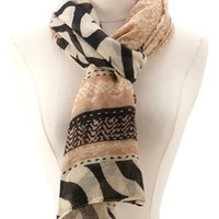 Mixed Tribal Print Wrap Scarf by Charlotte Russe - Ivory Combo