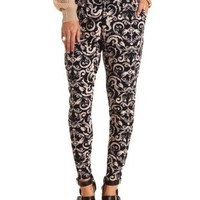 High-Waisted Damask Print Trousers by Charlotte Russe - Navy Combo
