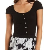 Button-Up Cap Sleeve Crop Top by Charlotte Russe