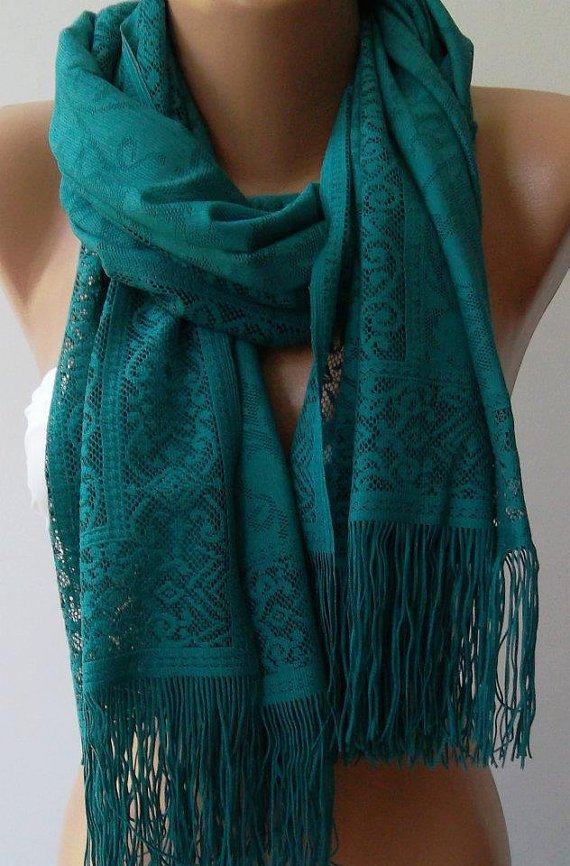 Green Elegance and Lace Shawl - Scarf Pareo-