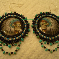 Rosette beaded Day of Dead Indian Chief earrings in black and Turquoise