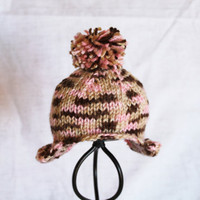 Ear Flap Hat - Newborn - Pink and Brown Camo -  Ready to Ship