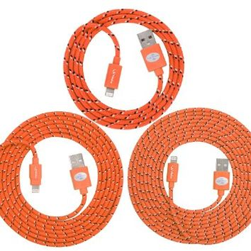 3-PACK High Quality Braided Fabric 3ft/6ft/10ft USB Sync and Charging Lightning Cable for iPhone 5/5C/5S(Latest IOS Supported)iPad 4 Mini, iPod Touch 5 and Nano 7,8-pin to USB (Orange)