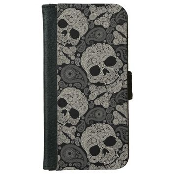 Sugar Skull Pattern iPhone 6 Wallet Case