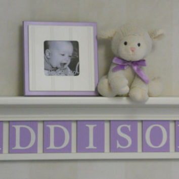 "Purple Baby Girl Nursery Decor 30"" Linen (Off White) Shelf - 7 Wood Letter Light Purple Baby Name Signs - ADDISON"