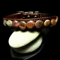 Medium Brown Pet Collar Featuring Green and Brown Natural Stone Beads
