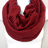 Houndstooth Red & Black Fall Infinity Scarf Womens Fall Fashion Plaid Scarves Girls Houndstooth Circle Scarf Chunky Plaid Fall Scarf