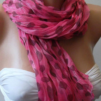 Pink - Elegance - Shawl / Scarf  Headband  Bandana Pareos-