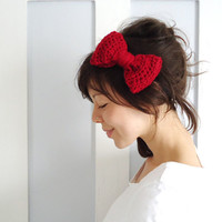 Crochet Bow Hair Band Red