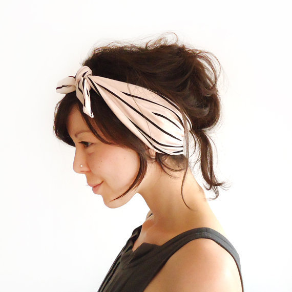 Tie Up Headscarf Tea Rose Stripe