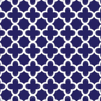 Navy & White Quatrefoil Art Print by KJ53321 | Society6