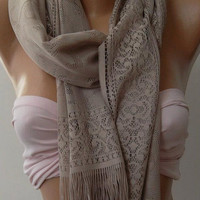 Stone Color  - Elegance  Shawl / Scarf with Lacy Edge.