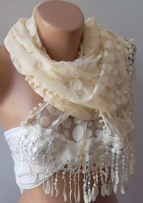Beige  - Elegance  Shawl / Scarf with Lacy Edge-