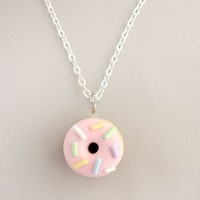 Pink Strawberry Sprinkle Donut Charm Necklace