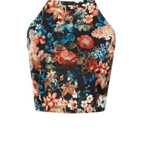 Cameo Rose Floral Print High Neck Top