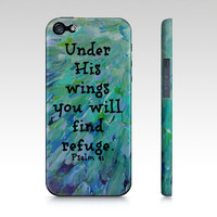 Under His Wings- iPhone 4 4S 5 5S 5C 6 Hard Case Bible Proverbs Art Teal Green Blue Feathers Waves God Abstract Scripture Biblical Verse