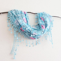 Floral Lacy Lace Wedding Scarf Something Blue Bridal Robin Egg Blue
