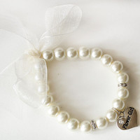 Flower girl pearl bracelet flower girl gift ivory organza ribbon rhinestone crystal heart charm jewelry wedding gift children bracelet