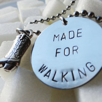 "Silver Cowboy Boot Necklace - ""Made for Walking"""
