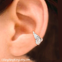 Angel wing silver ear cuff earring jewelry - Tiny cartilage earcuff for men and women  080612