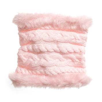 H&M - Cable-knit Tube Scarf - Light pink - Kids