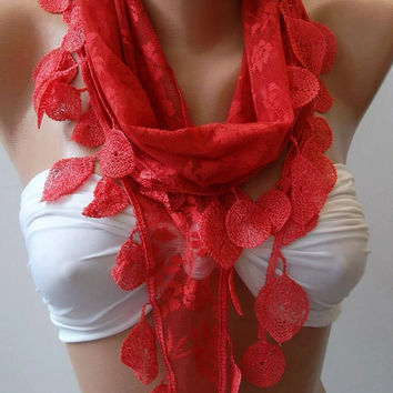 Feminine - Coral  Red - Elegance  Shawl / Scarf.... with Lacy Edge.