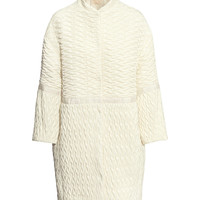 H&M - Quilted Coat - Natural white - Ladies
