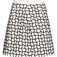 H&M - Cord-embroidered Skirt - White - Ladies