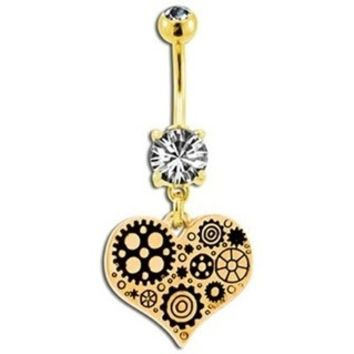 Steampunk Gold Geared Heart Belly Button Ring